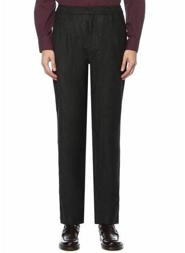 Beymen Collection Beymen Collection  Beli Büzgülü Pilili Desenli Yün Pantolon 101520883 Siyah